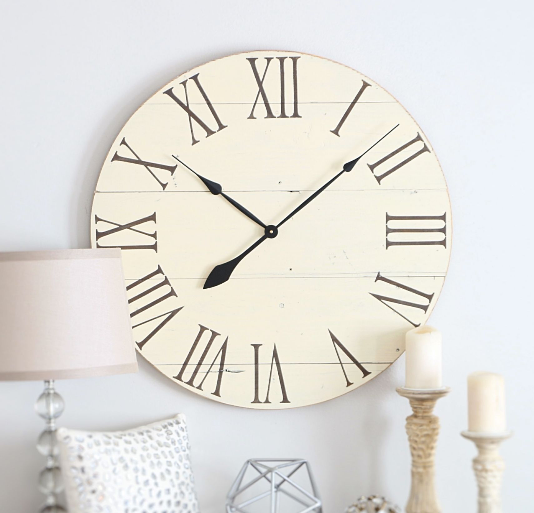 Large Wall Clock Off White Clock Farmhouse Living Room Etsy Large Wall Clock White Wall Clocks Shabby Chic Wall Clock