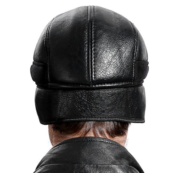 6dd382b58b8 Mens Genuine Leather Winter Ear Protection Beret Hat Casual Adjustable  Solid Cabbie Golf Hat  golfhat