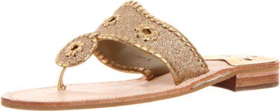 Jack Rogers Women's Glitter Navajo Thong Sandal,Gold/Gold,9 M US
