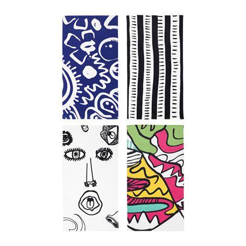 6999 100x180cm Czarno Biały Spridd Ręcznik Kąpielowy Ikea