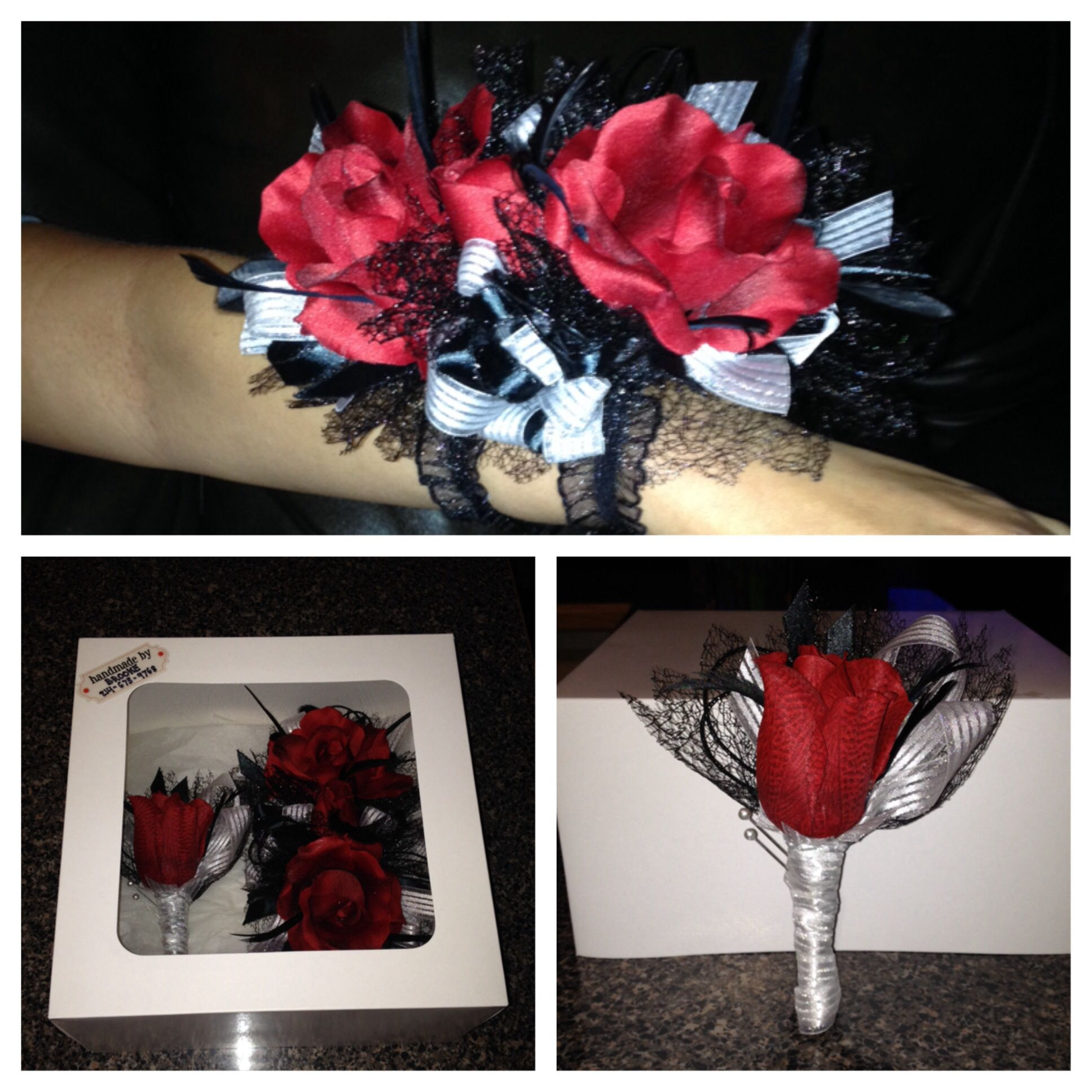 Matching prom corsage and boutonniere set by brooke 60 40 for 40 for corsage20 for boutonnire individual orders are accepted made with silk flowers can be made with real flowers for additional cost mightylinksfo Images