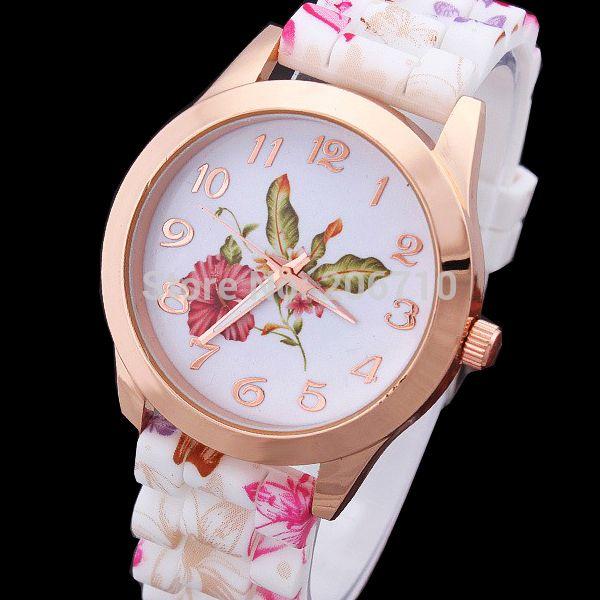 Cheap Super Value Nueva Moda Mujer Relojes de vestir Flores de pulsera  retro correa de silicona reloj de cuarzo Relojes de Lujo Sra Flores 40b22bd86776