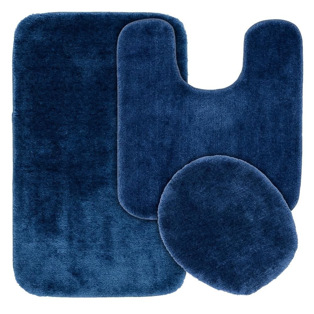 Garland Rug Traditional Navy 3 Piece Washable Bathroom Rug Set Blue Bathroom Rugs Bathroom Rug Sets Blue Bathroom Rugs