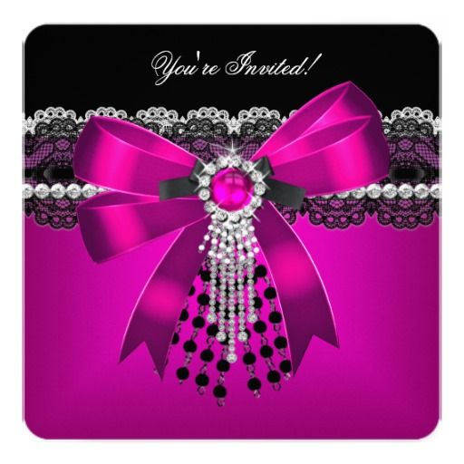 Elegant Pink Black Diamond Lace Party 2 Invitation Zazzle Com In 2021 Pink And Black Wallpaper Girly Skull Tattoos Black Pink