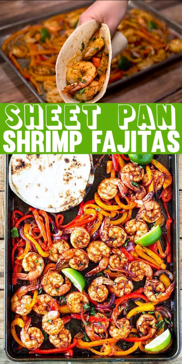Sheet Pan Shrimp Fajitas #weeknightdinners