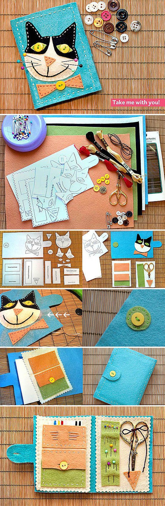 Kit de costura para viaje. (Tutorial paso a paso en http://www.sew4home.com/projects/fabric-art-accents/felt-travel-sewing-kitty)