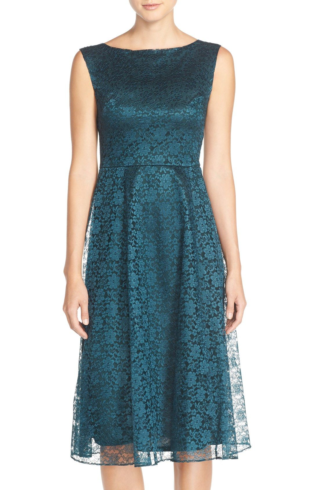Betsey Johnson Lace Midi Fit & Flare Dress - \