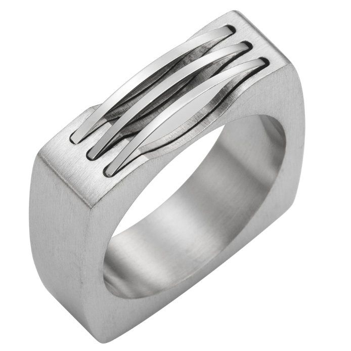 Stainless Steel Mechanic Style 316l Silver Mens Ring Band 6mm Rnbjewellery