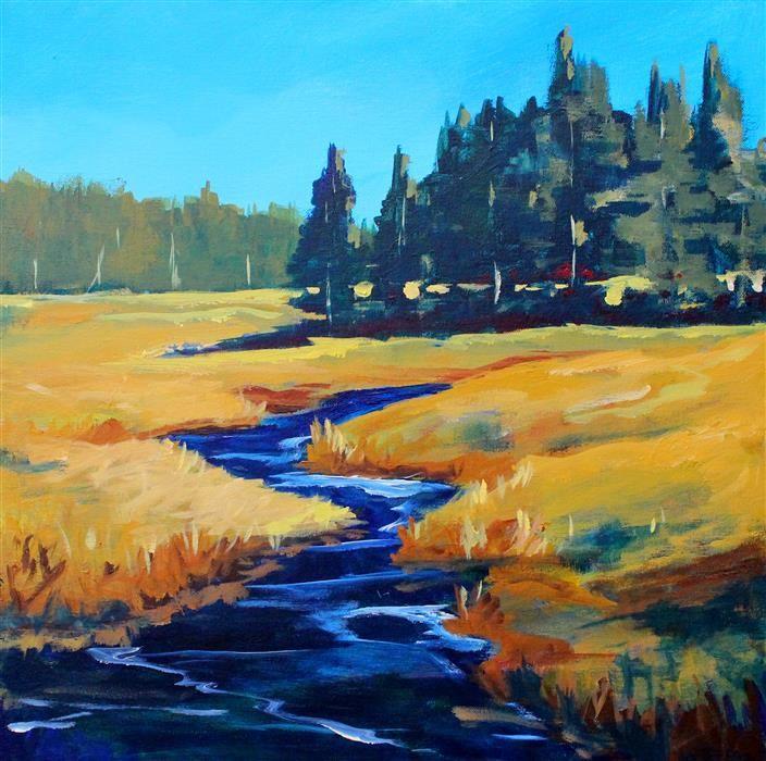 Buy Original Art By Nancy Merkle Acrylic Painting Western River At Ugallery Western Landscape Landscape Paintings River Painting