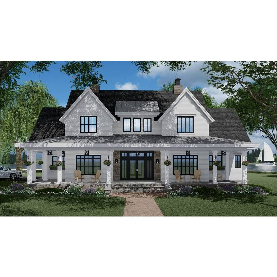 7375 Construction Ready Two Story Farmhouse Plan With Basement Foundation 5 Printed Sets Walmart Com In 2020 Brick Exterior House House Blueprints Basement House Plans
