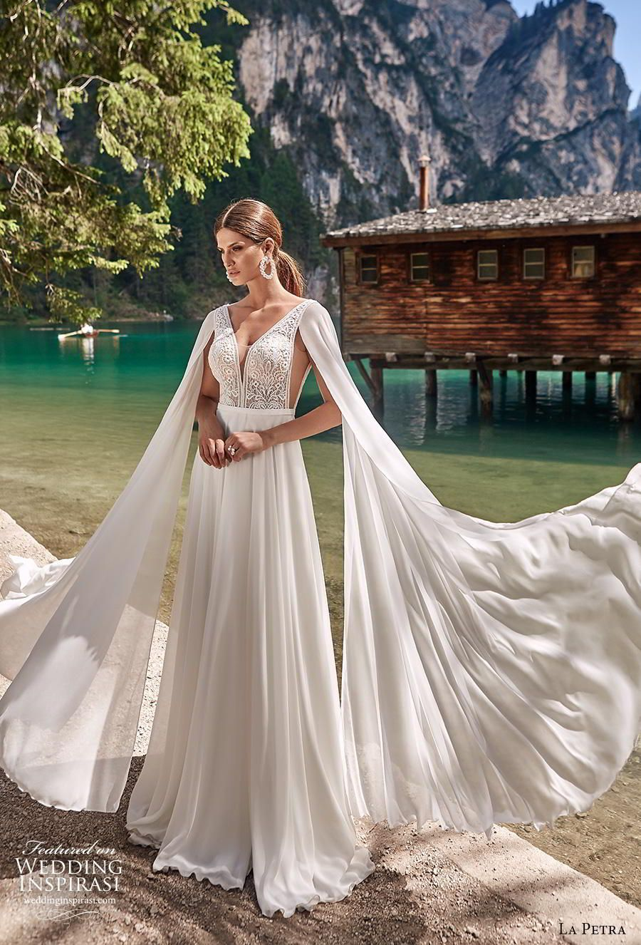 "La Petra 2020 Wedding Dresses — ""Aquamarine"" Bridal Collection #grecianweddingdresses la petra 2020 bridal long hanging sleeves thick strap deep v neck heavily embellished bodice elegant grecian modified a  line wedding dress backless v back short train (1) mv -- La Petra 2020 Wedding Dresses 
