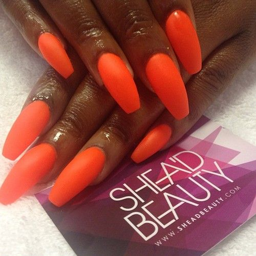 matte orange squaletto nails