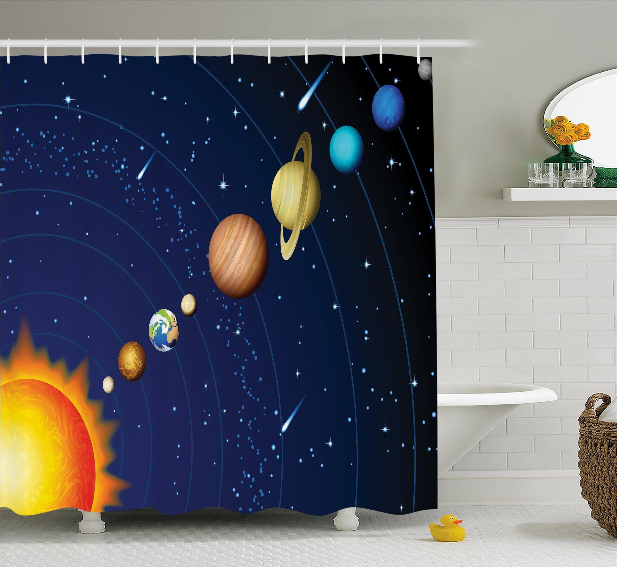 Justyn Solar System With Sun Single Shower Curtain Space Decor Solar System Shower Curtain Solar system bathroom decor