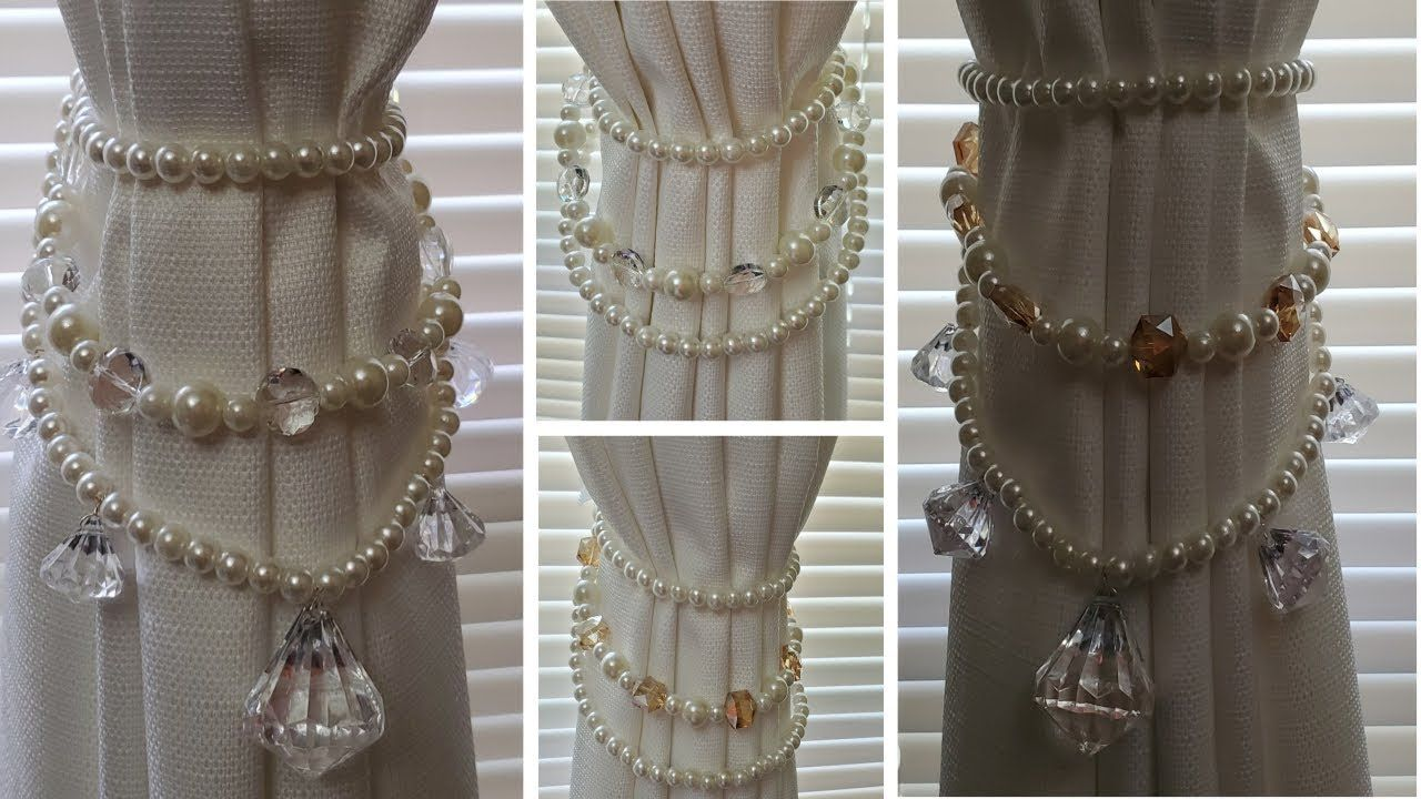 Dollar Tree Diy Giveaway Pearl And Crystals Curtain Tie Backs
