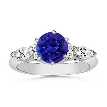 Angara Tanzanite Diamond Halo Ring in White Gold