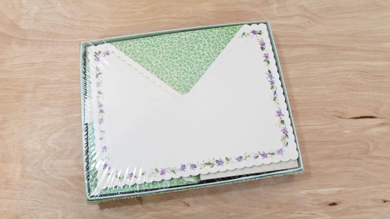 vintage boxed stationery set lavender stationary petals and floral