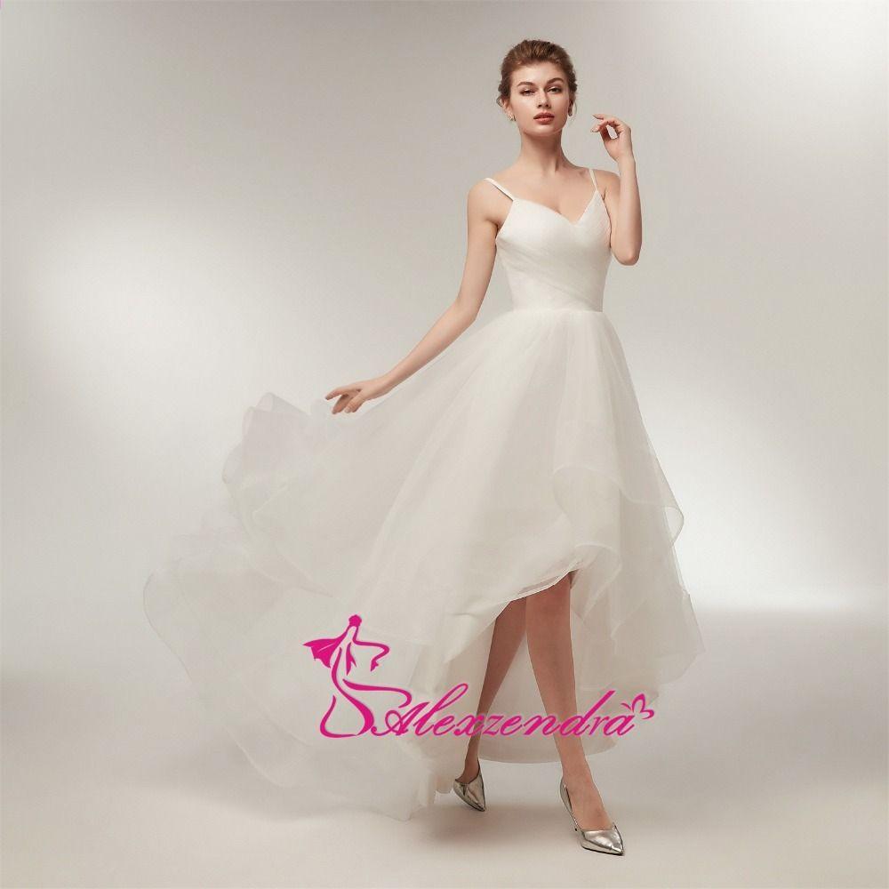 Alexzendra Stock ruhák High Low Olcsó esküvői ruha pántokkal Egyszerű Tulle  Beach esküvői ruhák készen állnak 211feb1f70