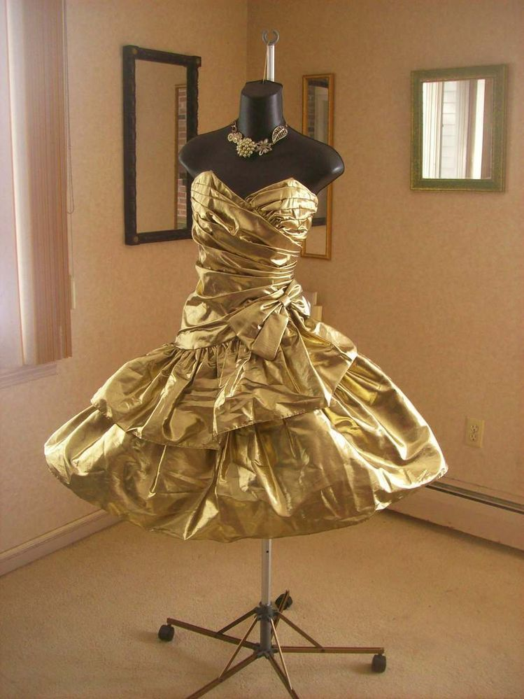 Vintage 80s Gold Wild Child Metallic Prom Party Dress S Available Now The Week Of 2 23 2017