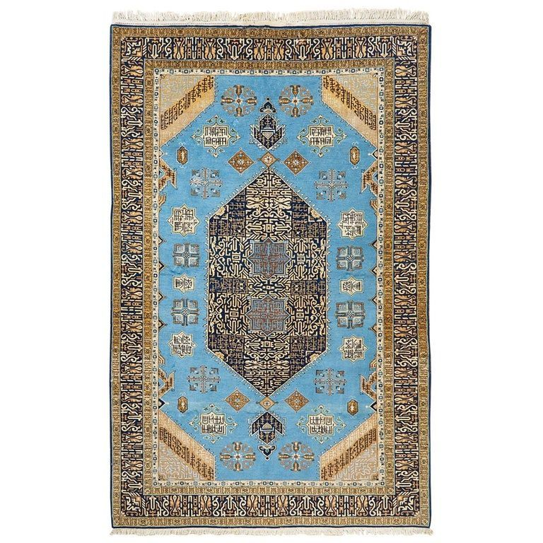 Vintage Persian Tabriz Rug With Sky Blue Field In 2020 Persian Tabriz Rug Tabriz Rug Rugs