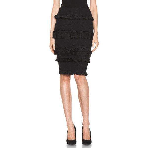 ricci ruffle pencil skirt in black 625 liked on