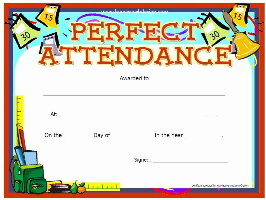 Perfect Attendance Certificate Printable Unique 13 Free Sample Perfect Attendanc Perfect Attendance Award Attendance Certificate Perfect Attendance Certificate