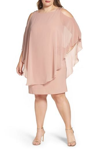 Xscape Embellished Chiffon Overlay Shift Dress (Plus Size) | Büyük ...