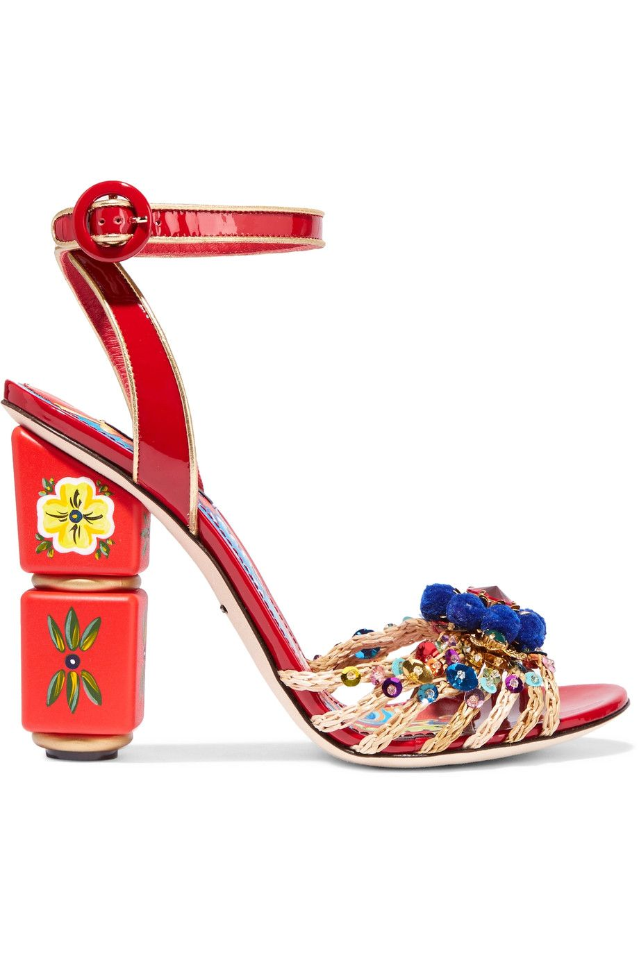 Shop onsale Dolce  Gabbana Embellished woven jute and patentleather  sandals Browse other discount designer Sandals  more on The Most  Fashionable