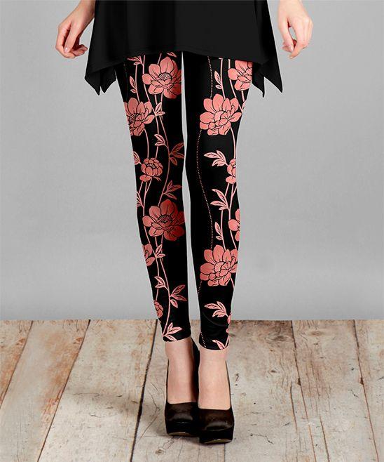 Black & Pink Floral Slim-Leg Pants - Plus Too