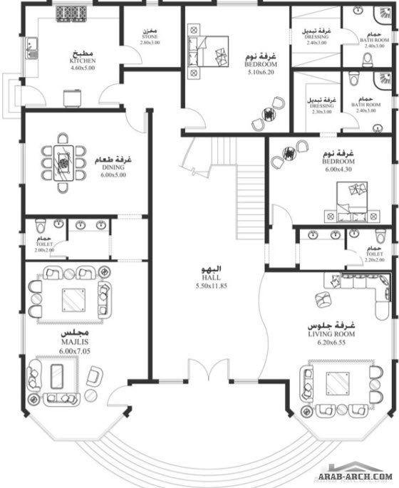 خرائط الفيلا Dy 04 غرف نوم 6 أبعاد المسكن 18 30م عرض20 60م عمق Square House Plans House Floor Design Two Story House Design