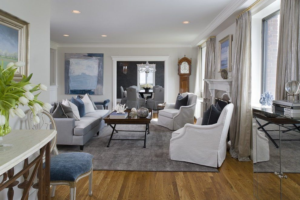 Benjamin Moore Halo Living Room Transitional With Blue Upholstered Chair Knitted Throw Blankets