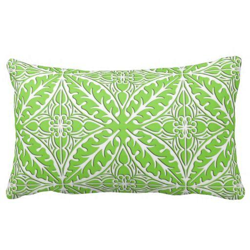 Moroccan Tiles Lime Green And White Lumbar Pillow