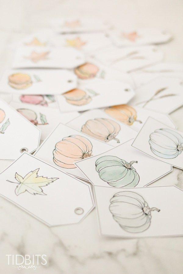 Fall Printable Watercolor Tags