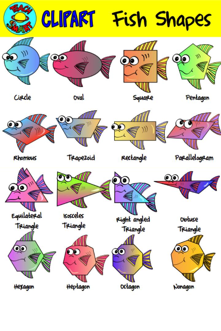 Fish 2d Shapes Clip Art Fish Shapes Shapes Clip Art