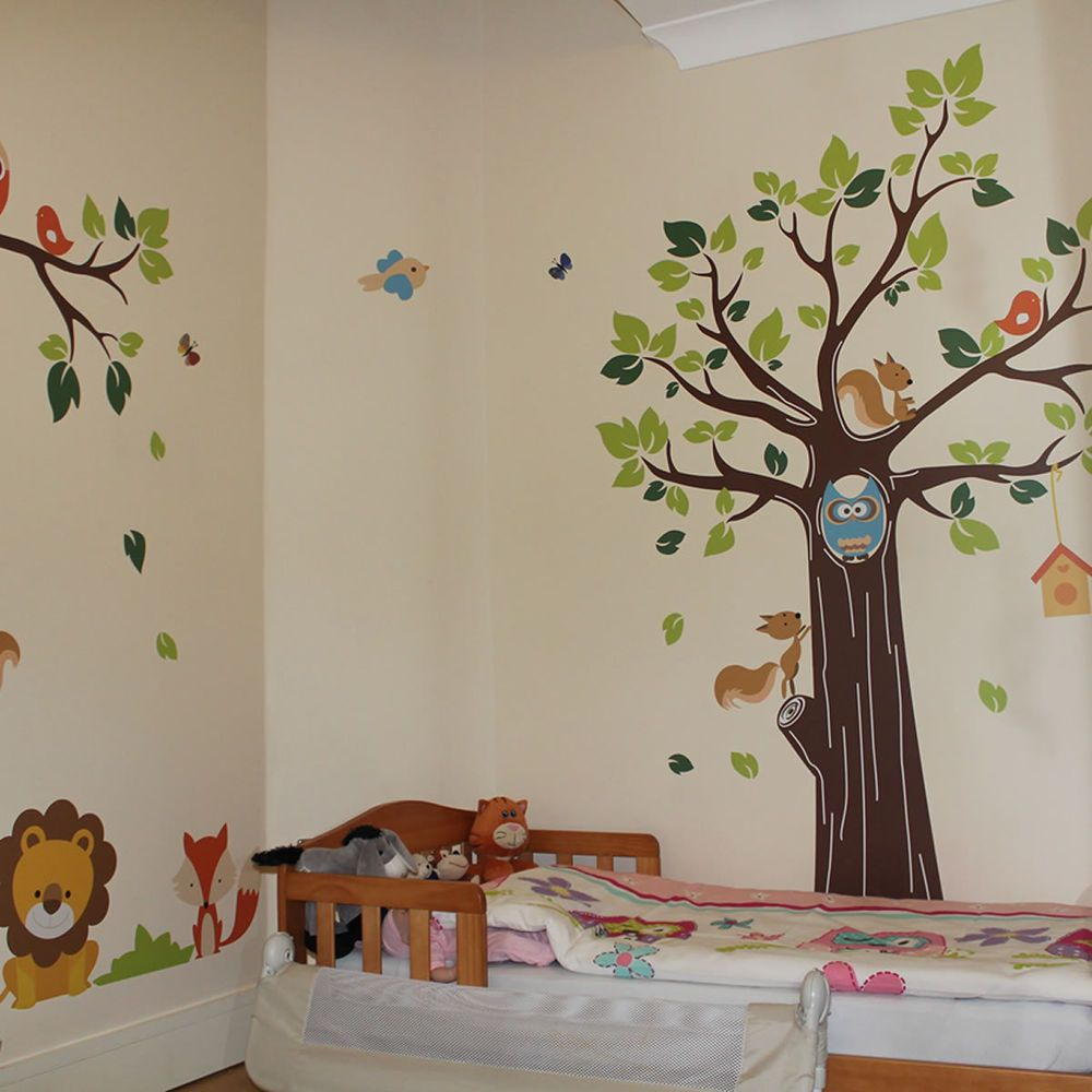 Kids Jungle Nursery Tree Animals Birds Owl Vinyl Wall Stickers - Kids wall decals jungle