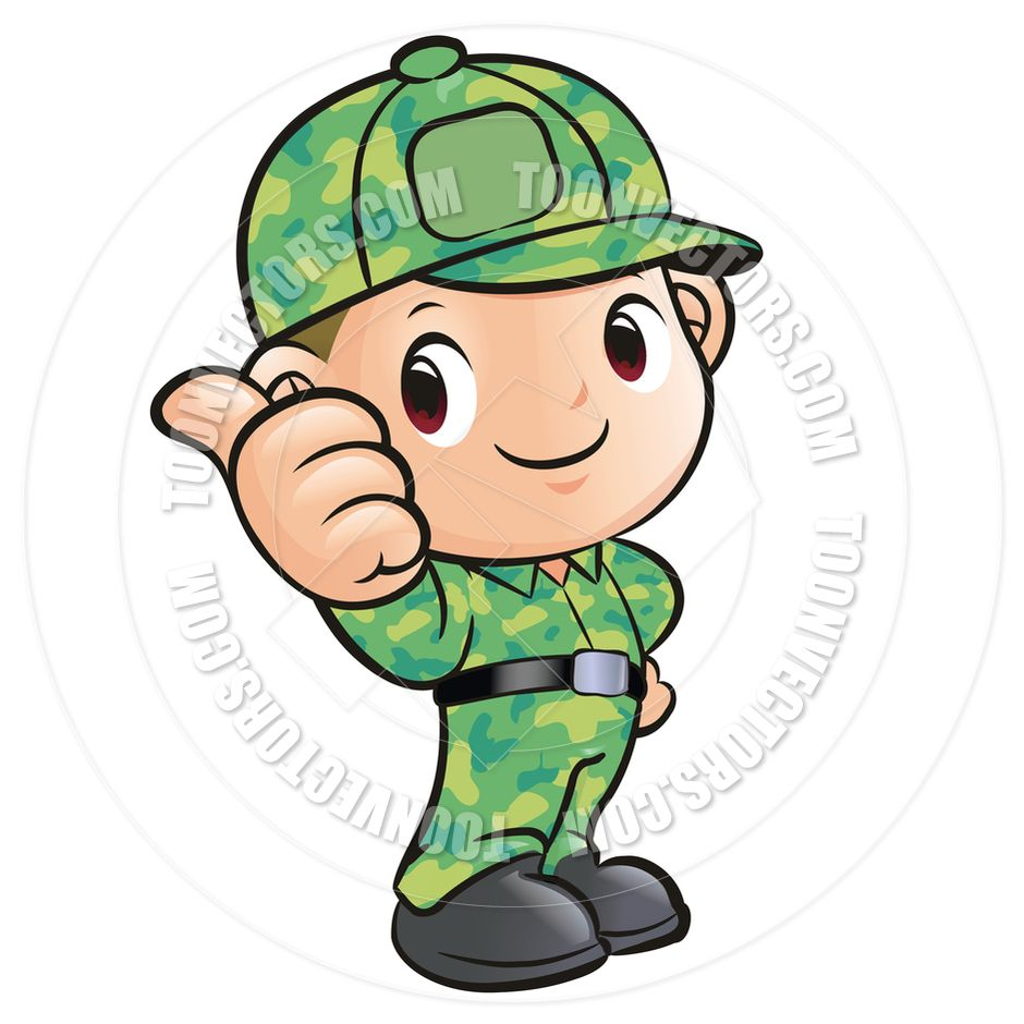 cartoon soldier thumbs up by boians cho joo young toon vectors eps