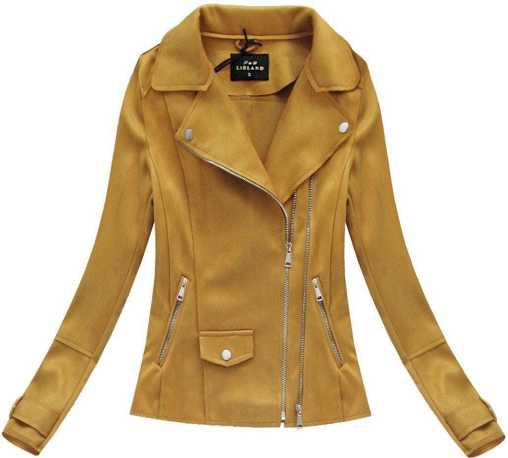 Zamszowa Ramoneska Musztardowa 6001 Mustard Jacket Jackets Leather Jacket