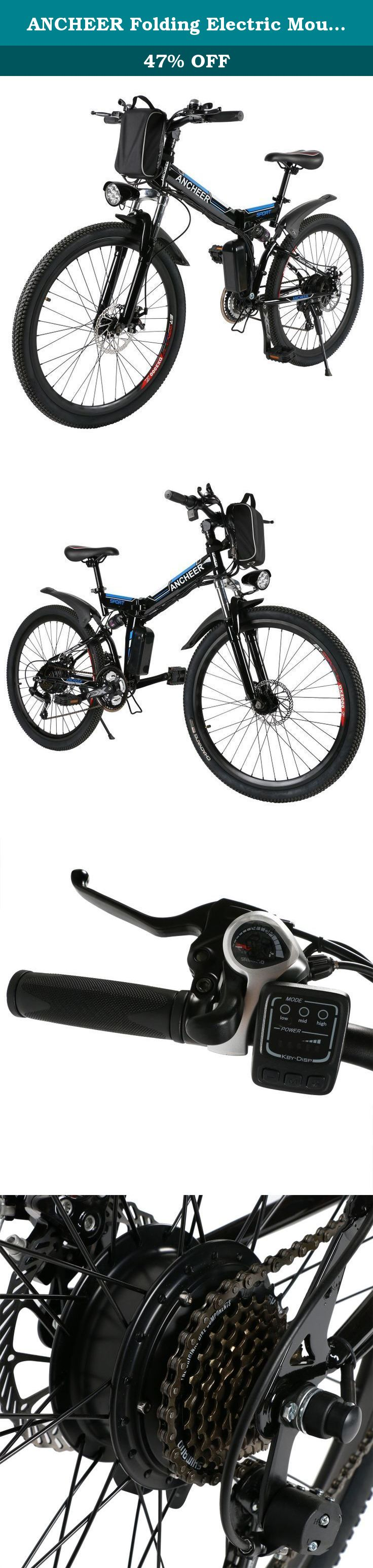 cf85dbc6093 ANCHEER Folding Electric Mountain Bike with 26 Inch Wheel, Removable Lithium-Ion  Battery (36V 250W), Premium Full Suspension and Shimano Gear.