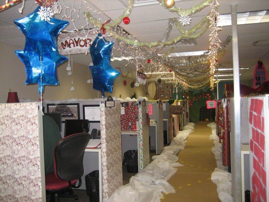 office xmas decoration ideas. decoration hanging blue stars and string lighting feat coloured balls plus snowflakes with nice cubicle office xmas ideas t