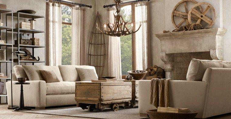 Rustikales Wohnzimmer mit dekorativen Holzakzenten für den Innenraum - wohnzimmer dekoration grau