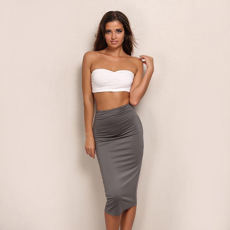 c5740c847d56b Feditch Dress Women Elegant Knee Length Office Lady Dresses Sexy Strapless  Bodycon Dress Hot Sale clothes