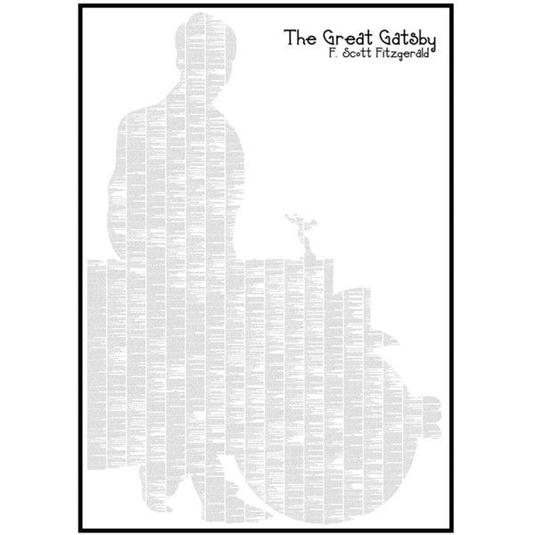 Spineless Classics The Great Gatsby - 70x100cm ($54) ❤ liked on Polyvore featuring home, home decor, wall art, backgrounds, art, wall posters, silhouette wall art, typography wall art, quote wall art and home wall decor