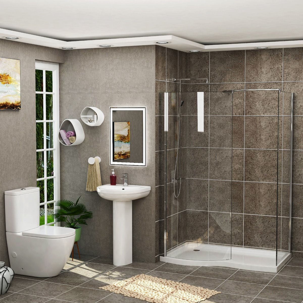 1400 X 900mm Curved Walk In 8mm Shower Enclosure Suite With Tray