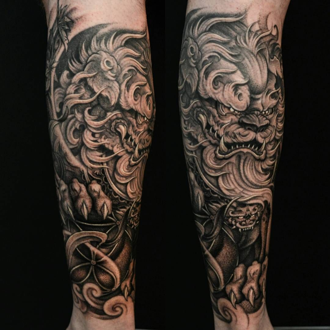 foo dog forearm 1 2 sleeve tattos pinterest foo dog tattoo and japanese tattoos. Black Bedroom Furniture Sets. Home Design Ideas