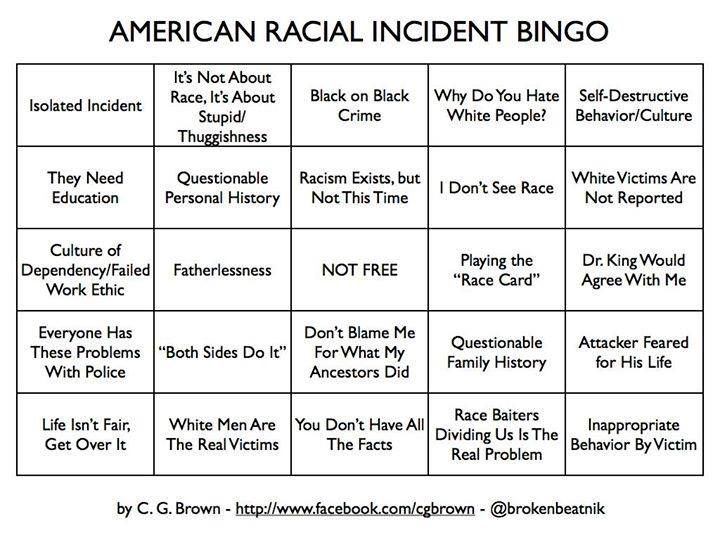 American Racial Incident Derailment Bingo  Start With Isolated