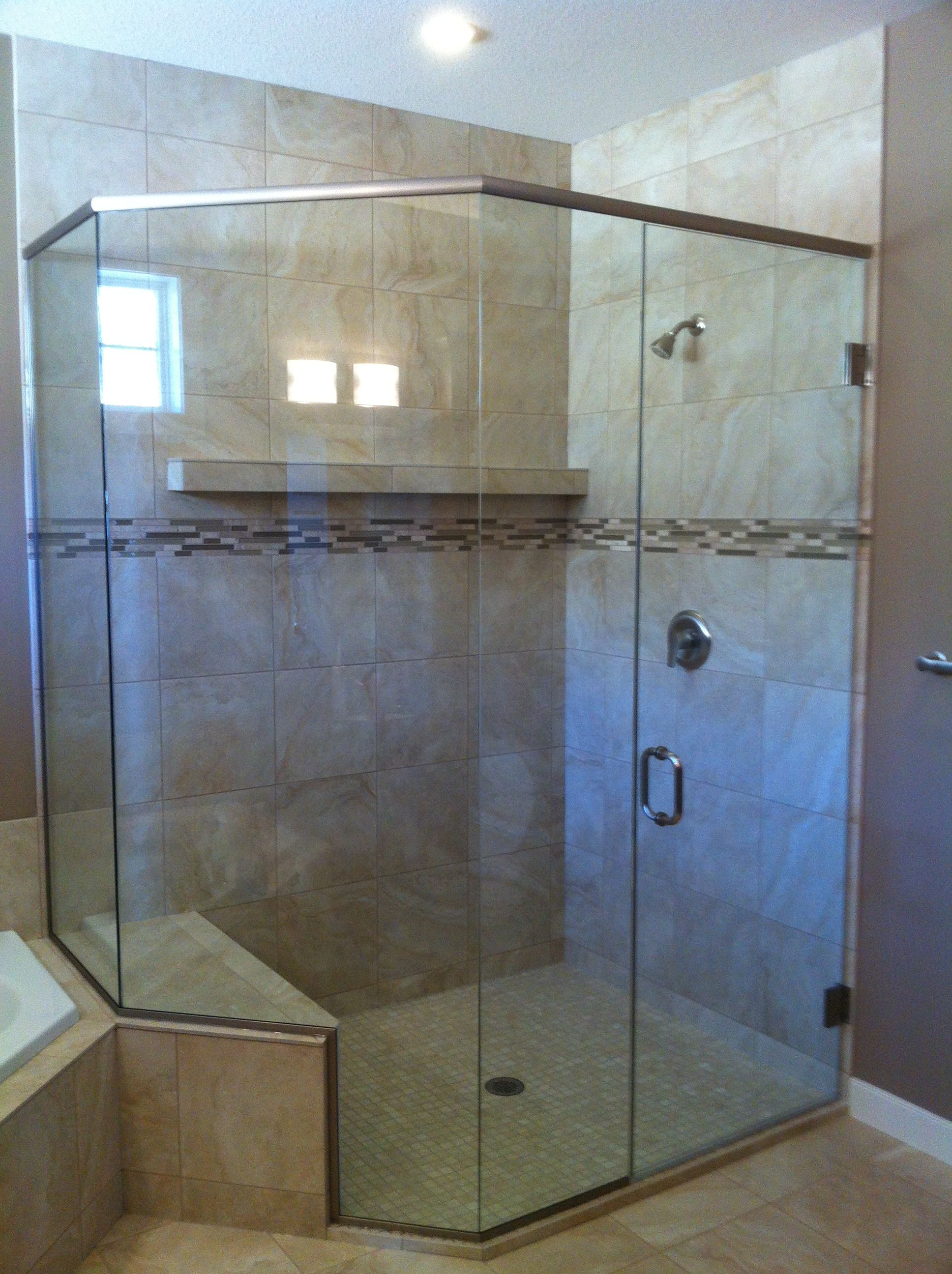 Neoangle shower enclosure with bench Full header wall ...