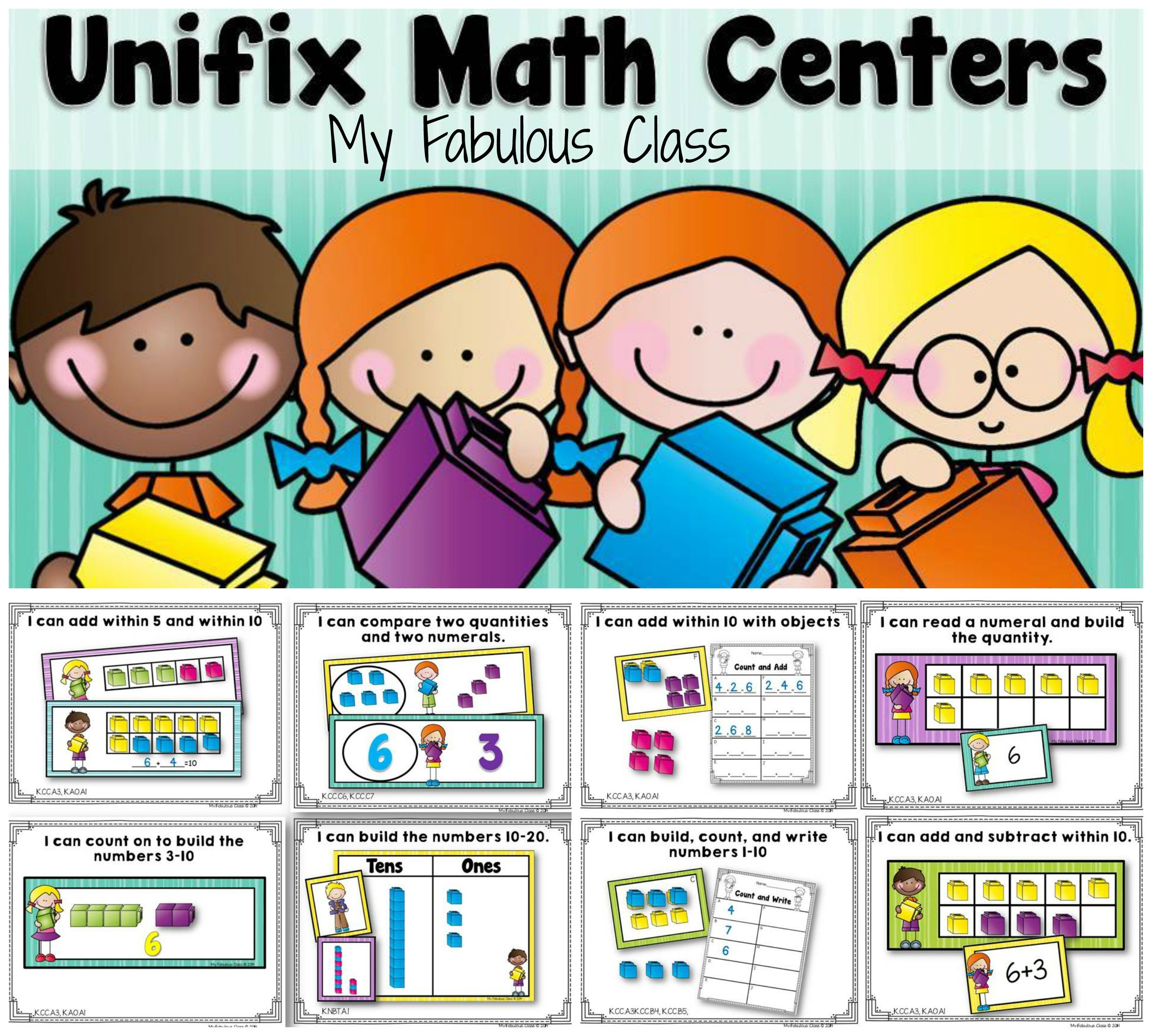Unifix Cube Math Centers For Kindergarten 8 Differentiated Centers That Can Be Used All Year