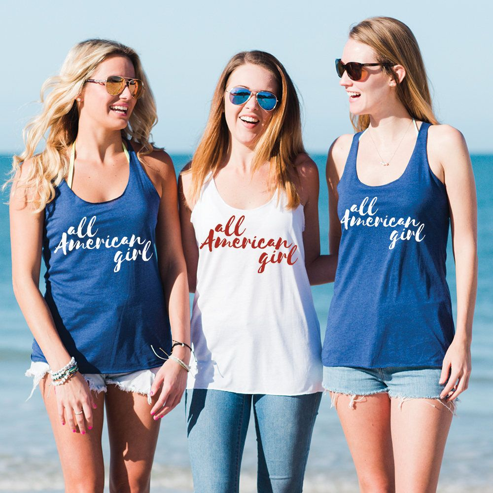 All American Girl  USA Clothing  America Shirt  Fourth of July