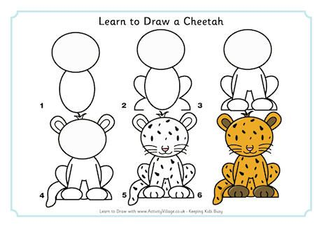 How To Draw A Easy Cheetah Step By Step For Kids