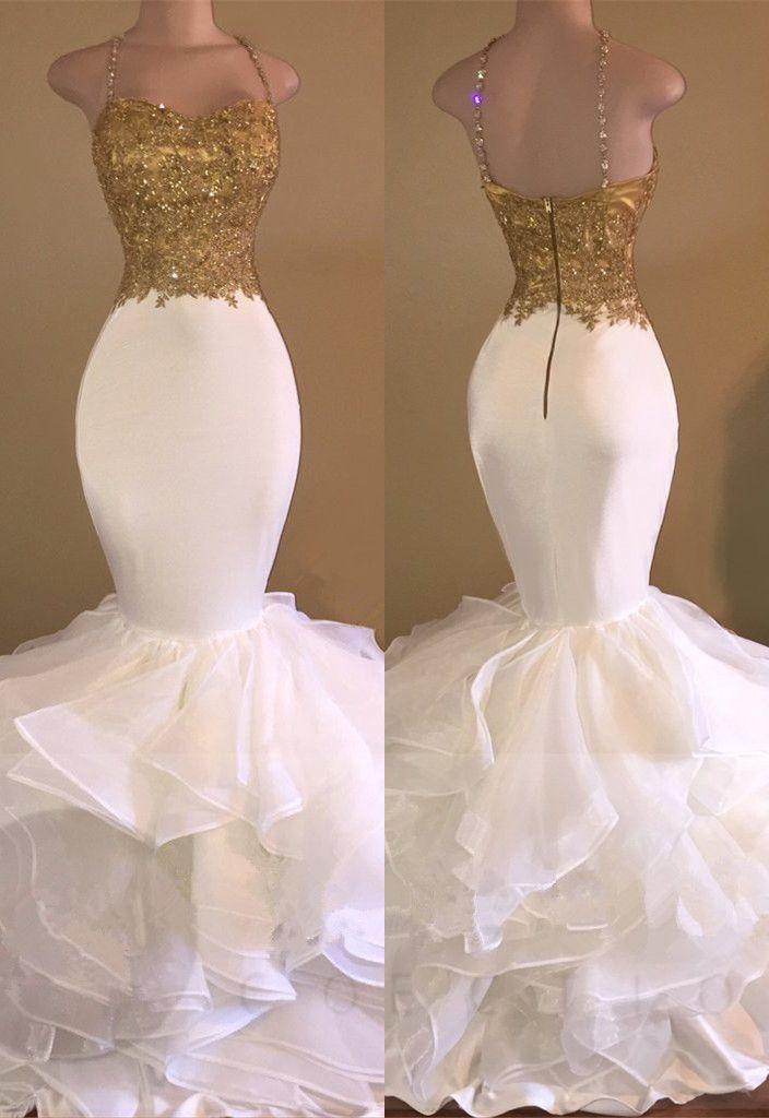 ff41c4523267 Amazing Gold & White Prom Dresses Spaghetti Straps Beading Ruffles Train Mermaid  Evening Gowns_Wholesale Wedding Dresses, Lace Prom Dresses, Long Formal ...