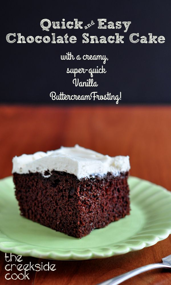 Everyone loves this chocolatey, moist cake with a creamy, delicious frosting.  Made from scratch in no time! Quick and Easy Chocolate Snack Cake on The Creekside Cook  #baking #dessert #cake